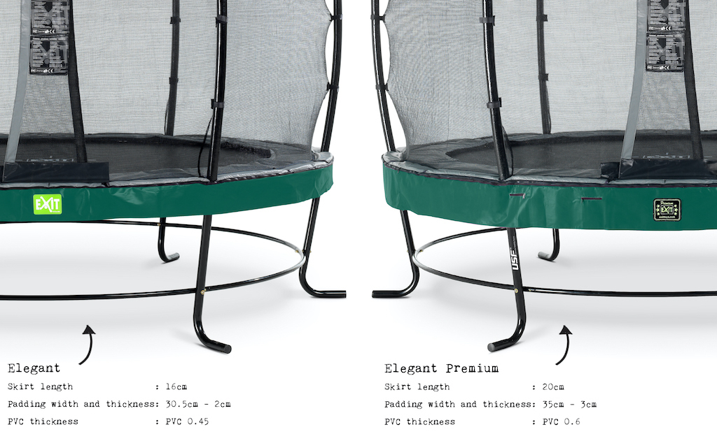 EXIT Trampoline Elegant Premium Ø253cm avec filet de sécurité Deluxe - vert