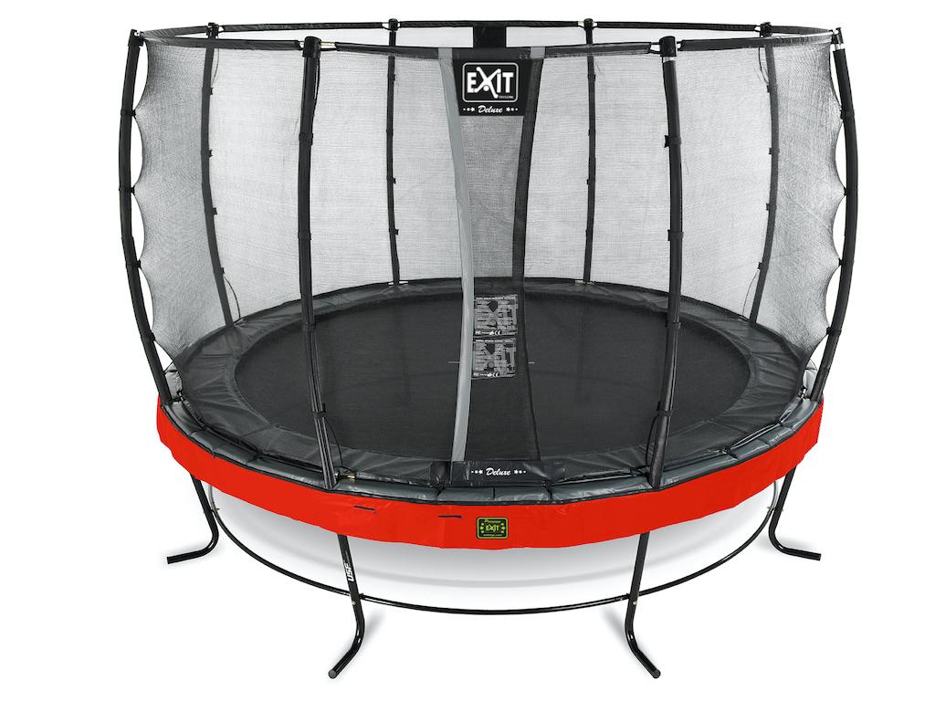 EXIT Elegant Premium trampoline ø366cm met Deluxe veiligheidsnet- rood
