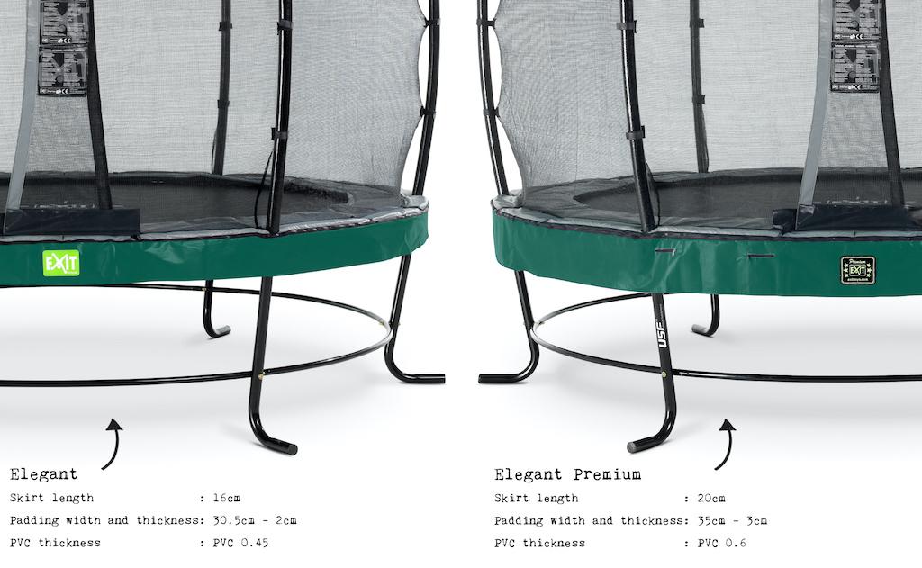 EXIT Trampoline Elegant Premium ø427cm avec filet de sécurité Deluxe - vert