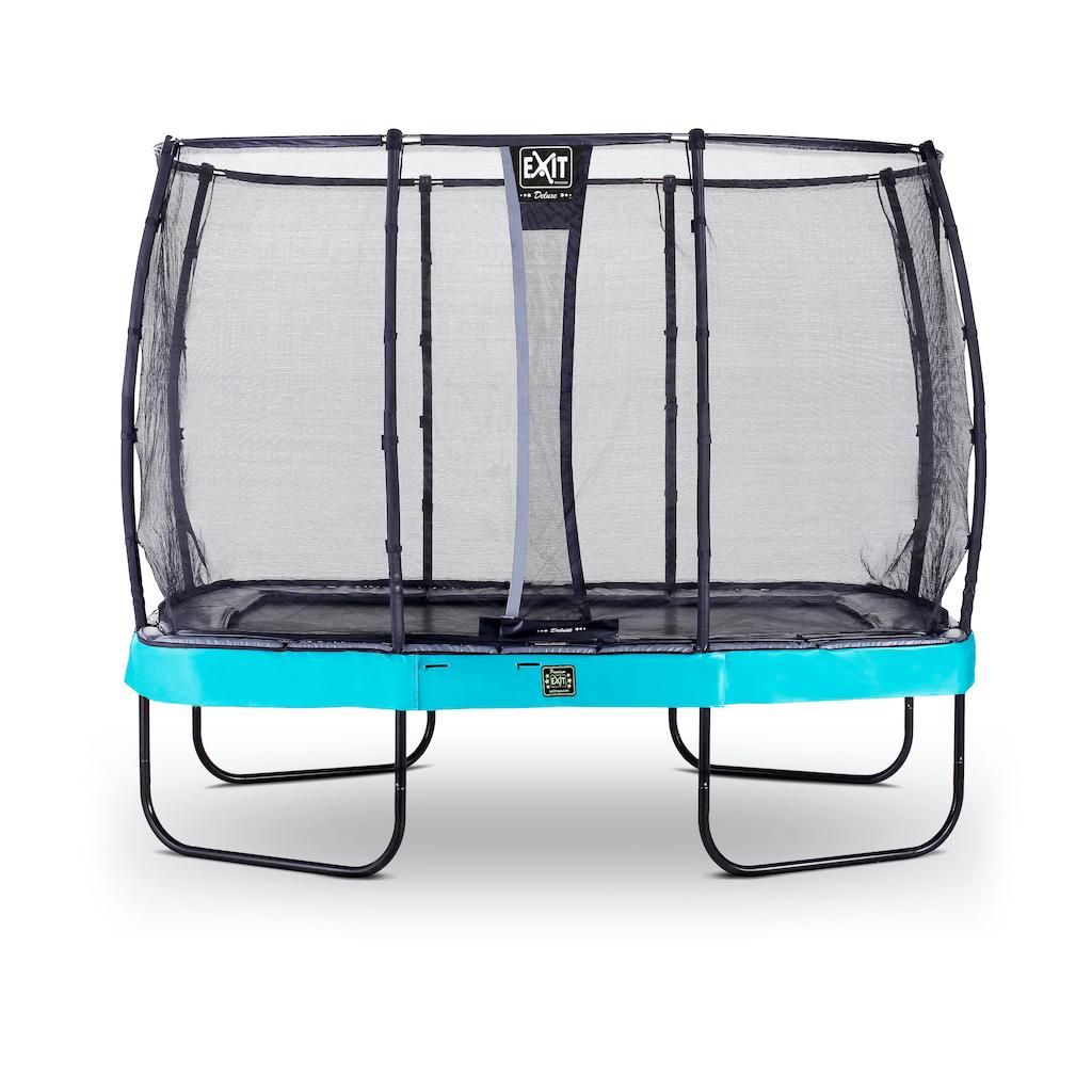 Trampoline EXIT Elegant Premium 214x366cm avec filet de sécurité Deluxe - bleu