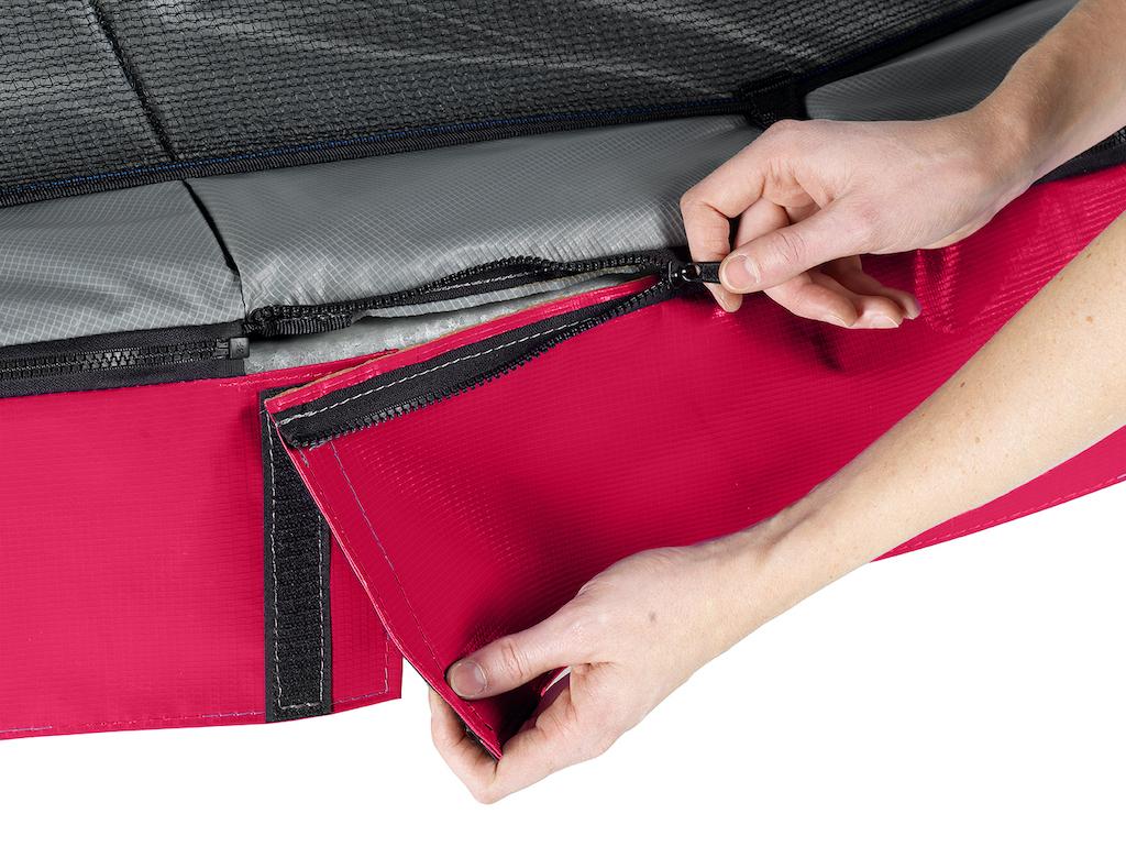 EXIT Trampoline Elegant Premium 214x366cm avec filet de sécurité Deluxe - rouge