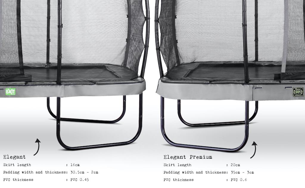 EXIT Elegant Premium trampoline 244x427cm met Deluxe veiligheidsnet- grijs