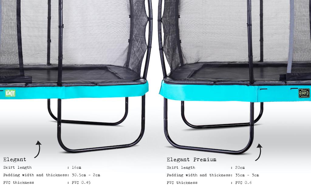 EXIT Elegant Premium trampoline 244x427cm met Deluxe veiligheidsnet- blauw