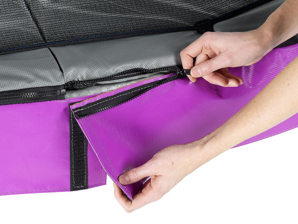 EXIT Élégant trampoline Premium 244x427cm avec filet de sécurité Deluxe violet