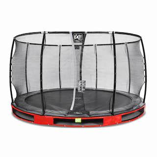 EXIT Elegant Premium inground trampoline ø366cm met Deluxe veiligheidsnet- rood