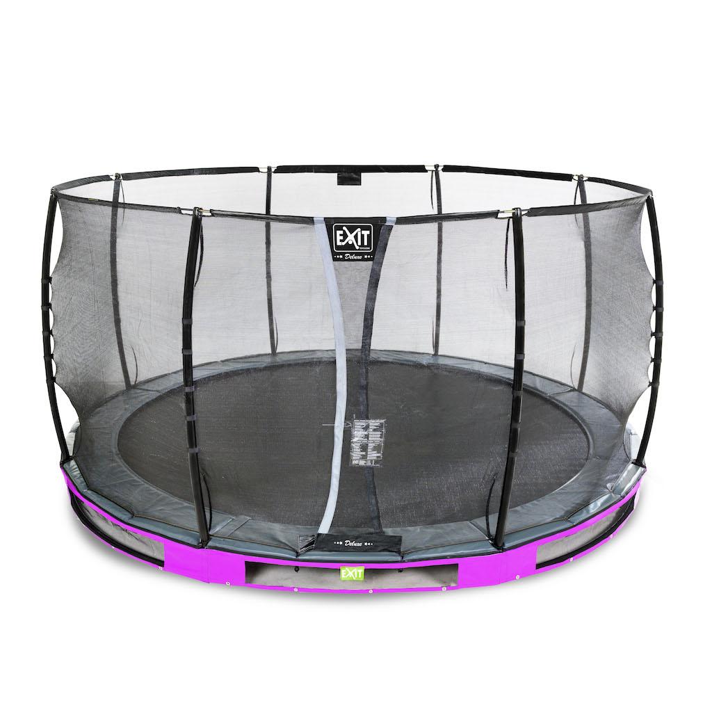 EXIT Élégant trampoline au sol Premium ø366cm avec filet de sécurité Deluxe violet