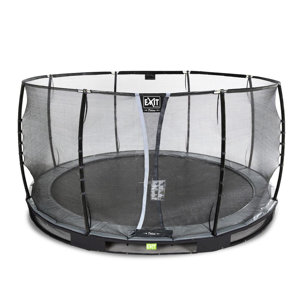 EXIT Elegant Premium inground trampoline ø427cm met Deluxe veiligheidsnet- zwart