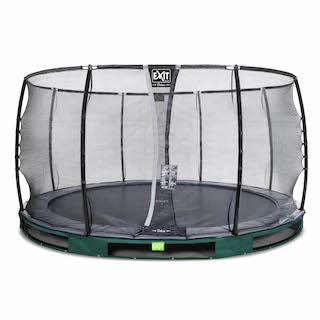 EXIT Elegant Premium inground trampoline ø427cm met Deluxe veiligheidsnet- groen