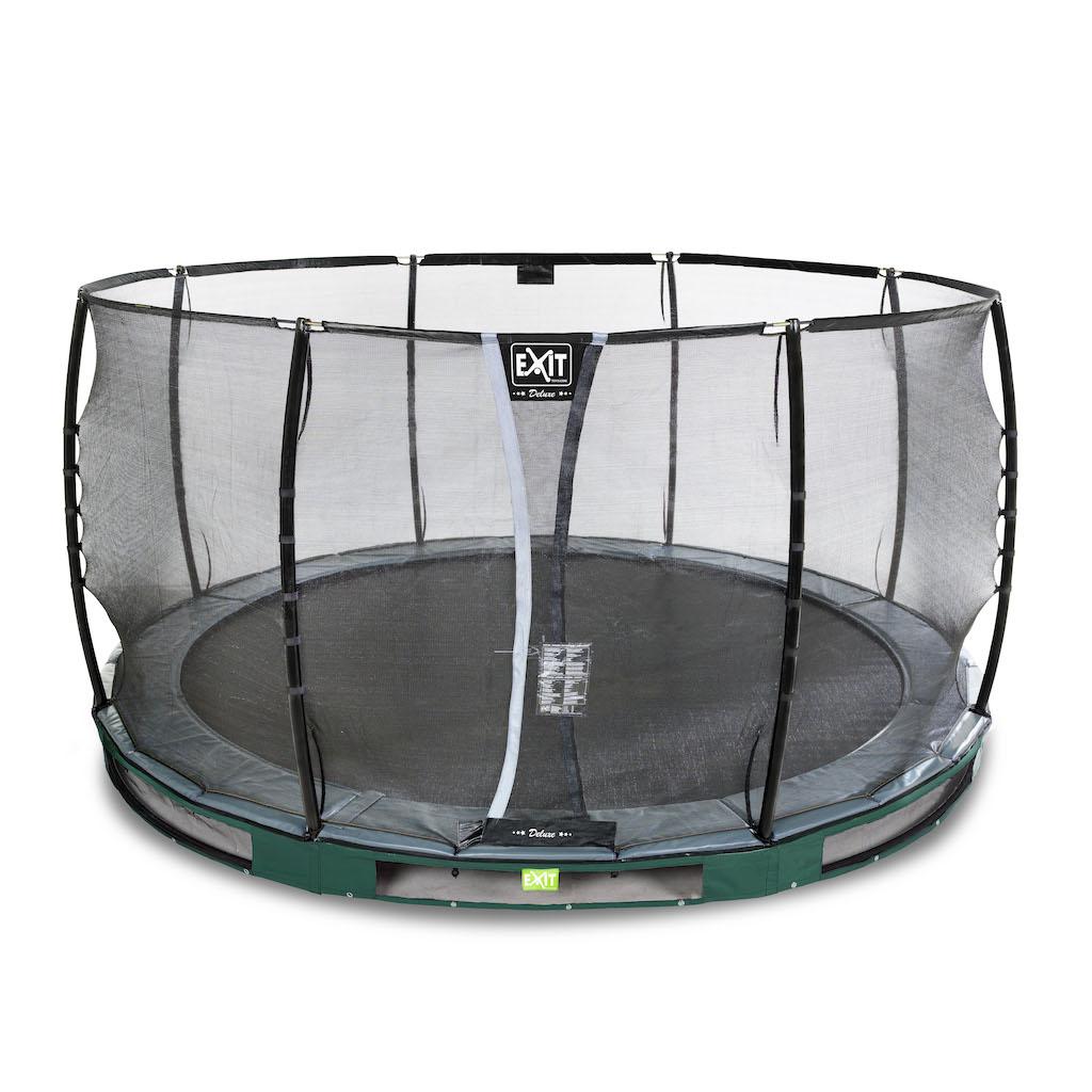 EXIT Trampoline de sol élégant Premium Ø427cm avec filet de sécurité Deluxe - vert
