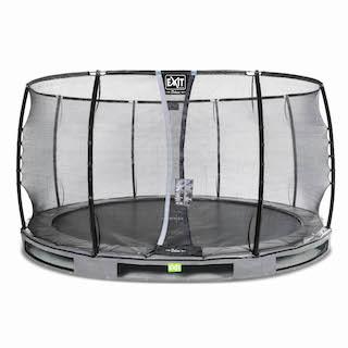 EXIT Elegant Premium inground trampoline ø427cm met Deluxe veiligheidsnet- grijs