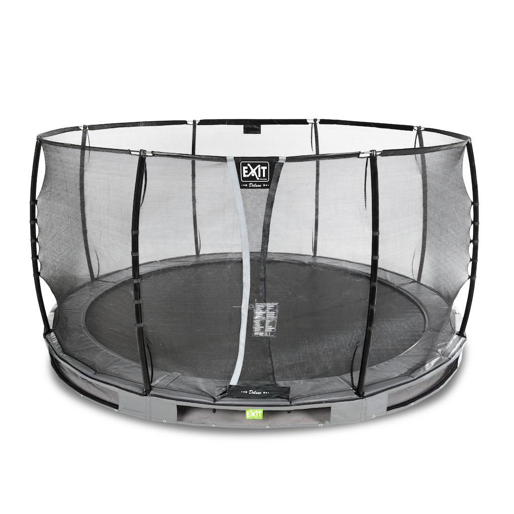 EXIT Trampoline de sol élégant Premium Ø427cm avec filet de sécurité Deluxe - gris