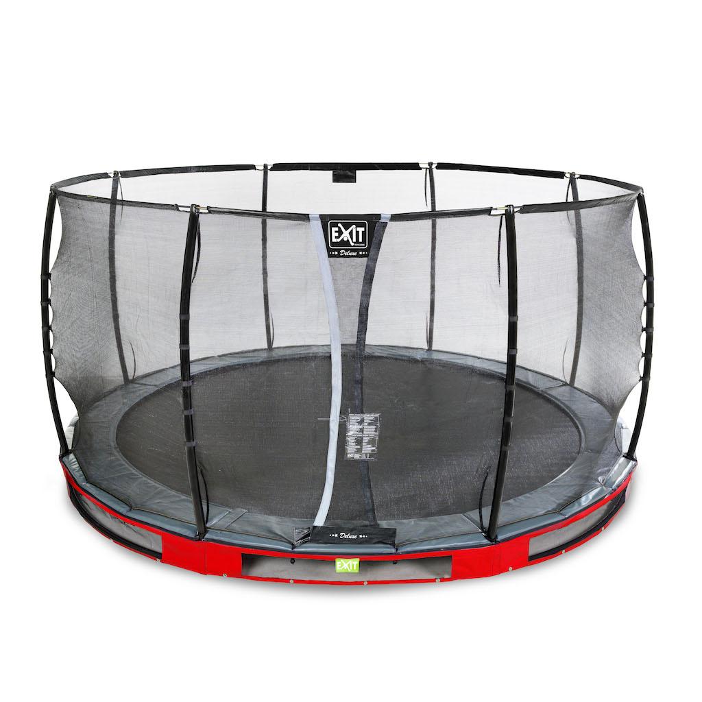 EXIT Trampoline au sol Elegant Premium Ø427cm avec filet de sécurité Deluxe - rouge
