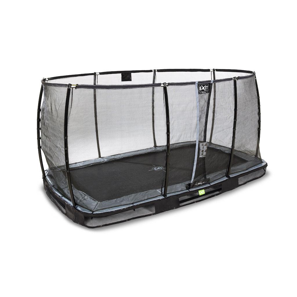 EXIT Elegant Premium inground trampoline 214x366cm met Deluxe veiligheidsnet- zwart
