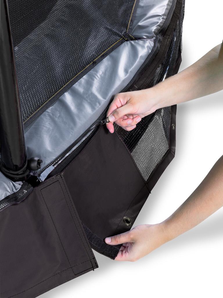 EXIT Trampoline au sol Elegant Premium 214x366cm avec filet de sécurité Deluxe - noir