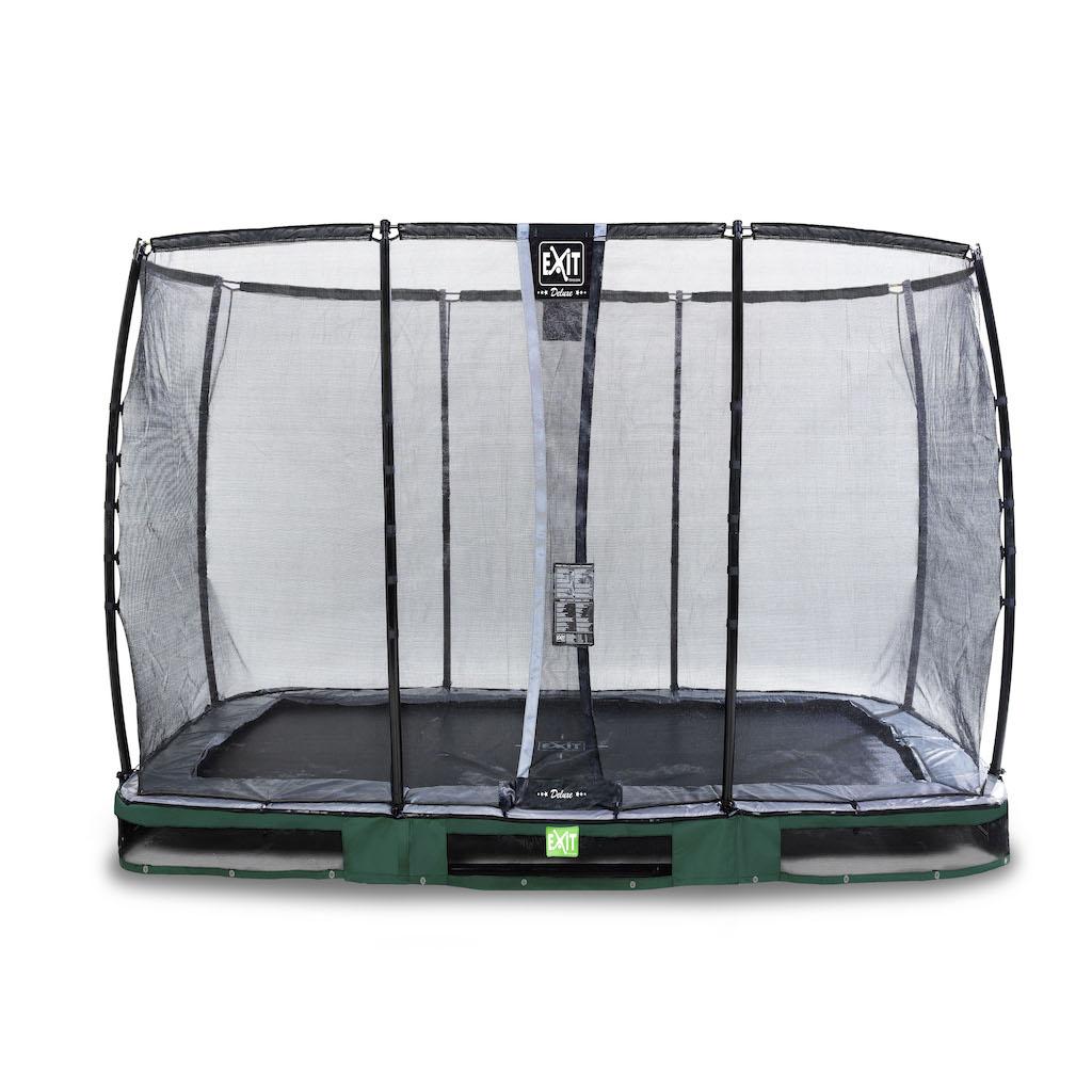EXIT Elegant Premium inground trampoline 214x366cm met Deluxe veiligheidsnet- groen