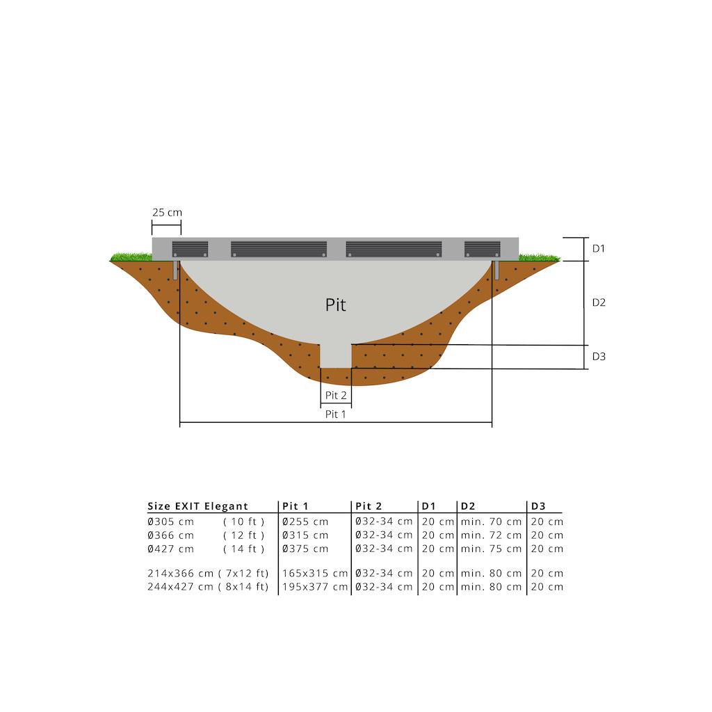 EXIT Elegant Premium inground trampoline 214x366cm met Deluxe veiligheidsnet- grijs