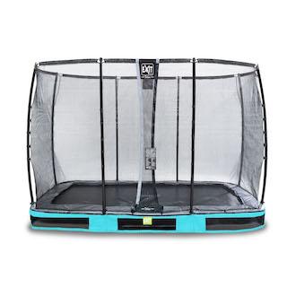 EXIT Elegant Premium inground trampoline 214x366cm met Deluxe veiligheidsnet- blauw