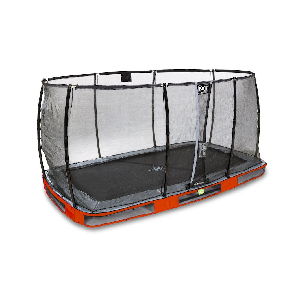 EXIT Elegant Premium inground trampoline 214x366cm met Deluxe veiligheidsnet- rood