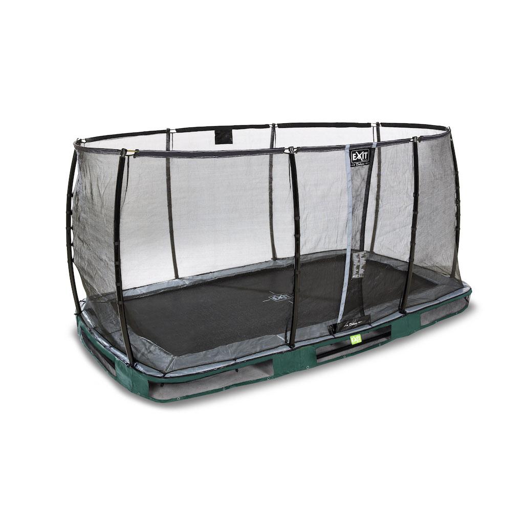 EXIT Elegant Premium inground trampoline 244x427cm met Deluxe veiligheidsnet- groen