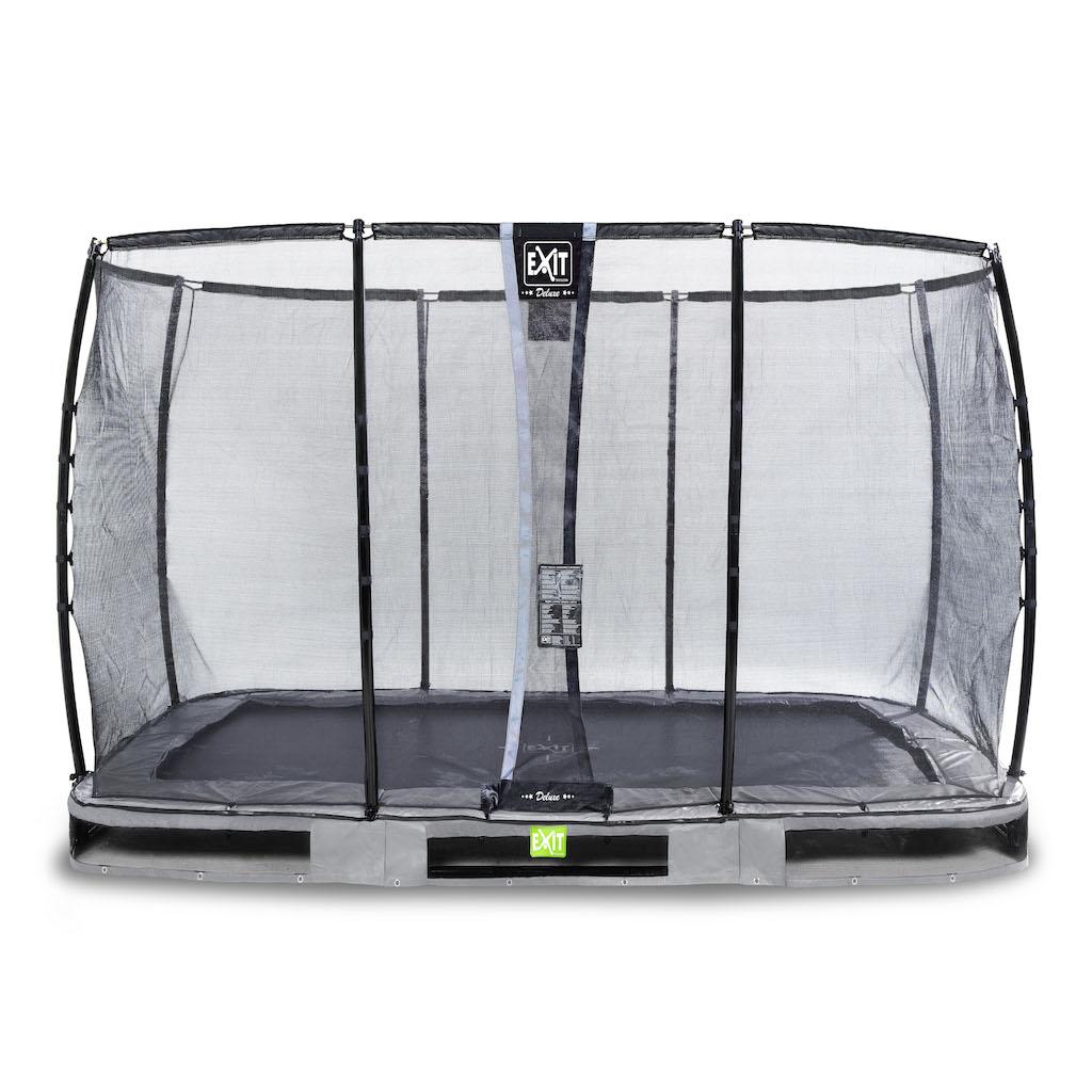 EXIT Elegant Premium inground trampoline 244x427cm met Deluxe veiligheidsnet- grijs