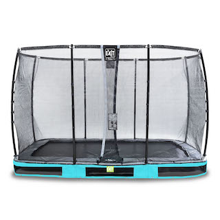 EXIT Elegant Premium inground trampoline 244x427cm met Deluxe veiligheidsnet- blauw