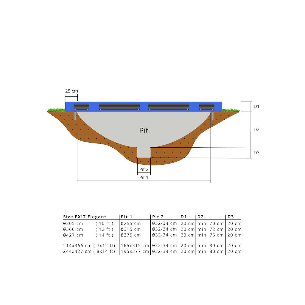 EXIT Trampoline de sol élégant Premium 244x427cm avec filet de sécurité Deluxe - bleu