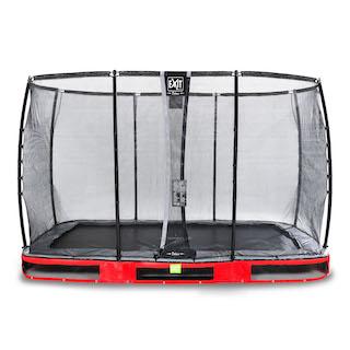 EXIT Elegant Premium inground trampoline 244x427cm met Deluxe veiligheidsnet- rood