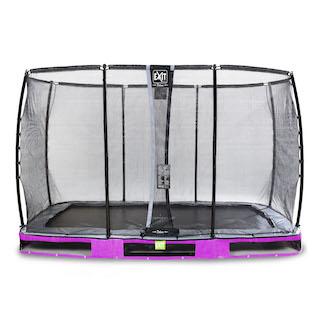 EXIT Elegant Premium inground trampoline 244x427cm met Deluxe veiligheidsnet- paars