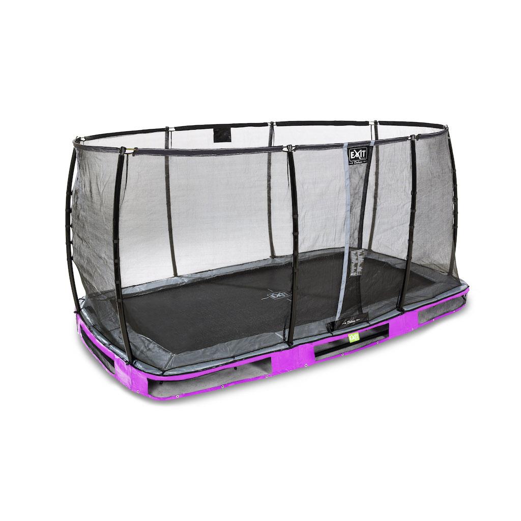 EXIT Élégant trampoline au sol Premium 244x427cm avec filet de sécurité Deluxe violet
