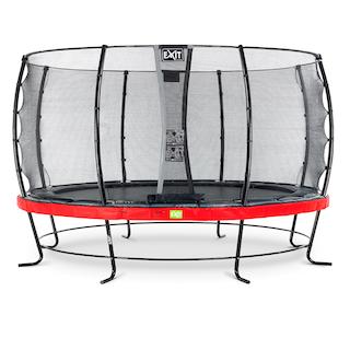 EXIT Elegant trampoline ø427cm met Economy veiligheidsnet- rood