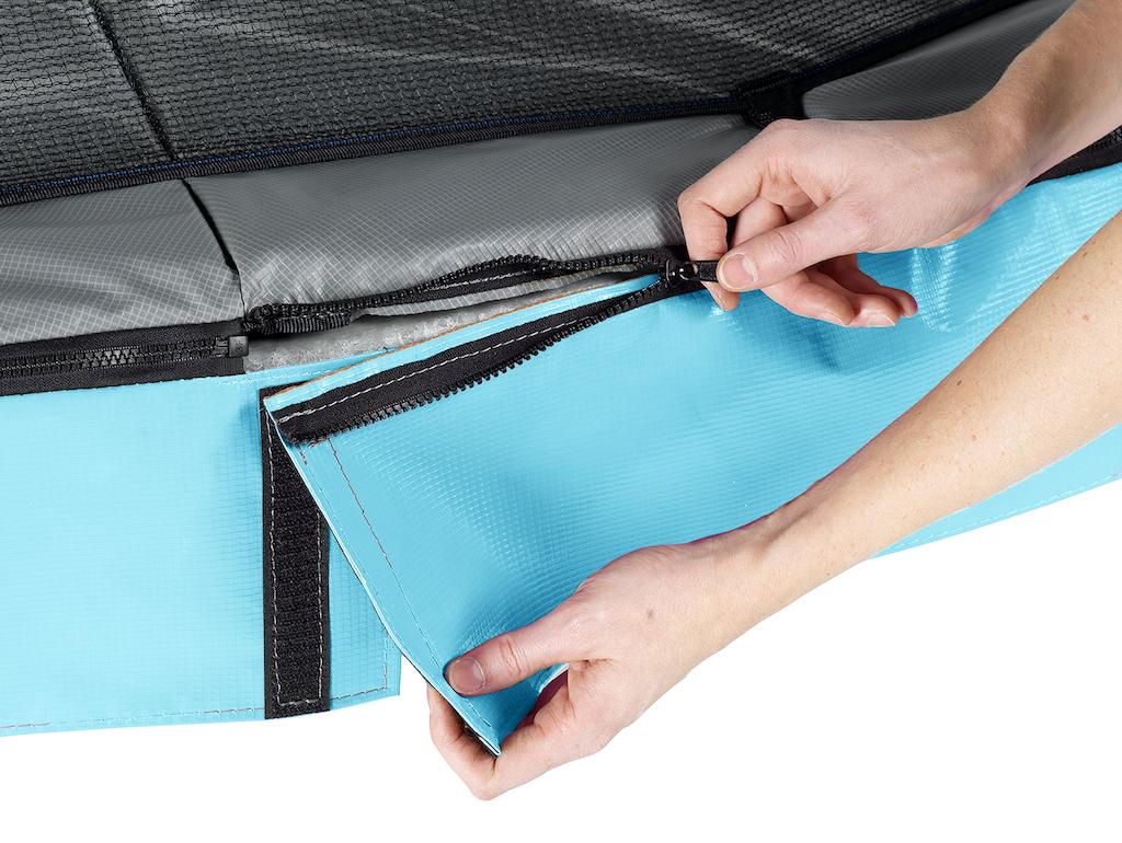 EXIT Elegant trampoline 214x366cm met Economy veiligheidsnet- blauw