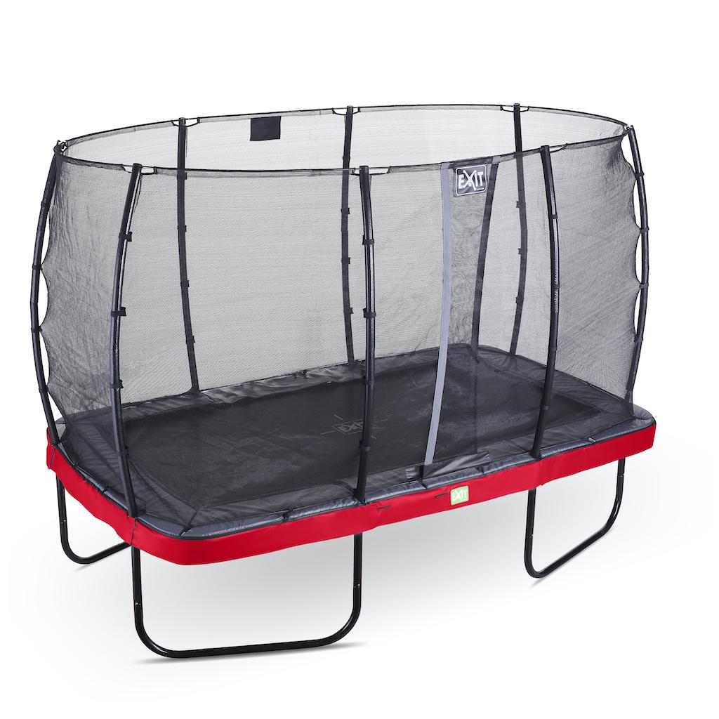 EXIT Elegant trampoline 214x366cm met Economy veiligheidsnet- rood