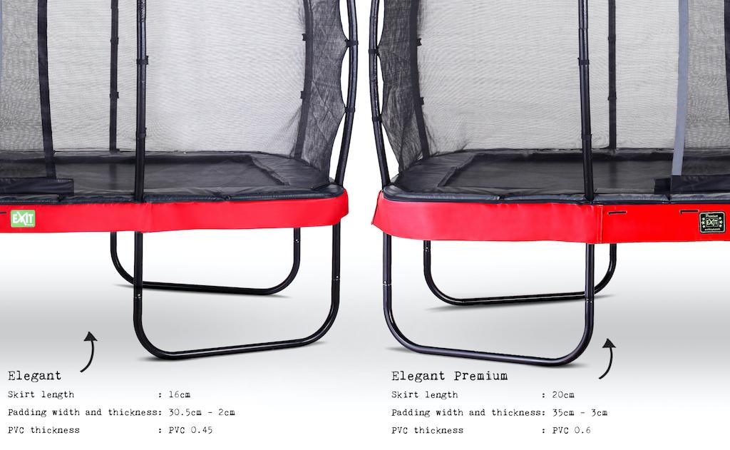 EXIT Trampoline élégant 214x366cm avec filet de sécurité EcoNeemy - rouge