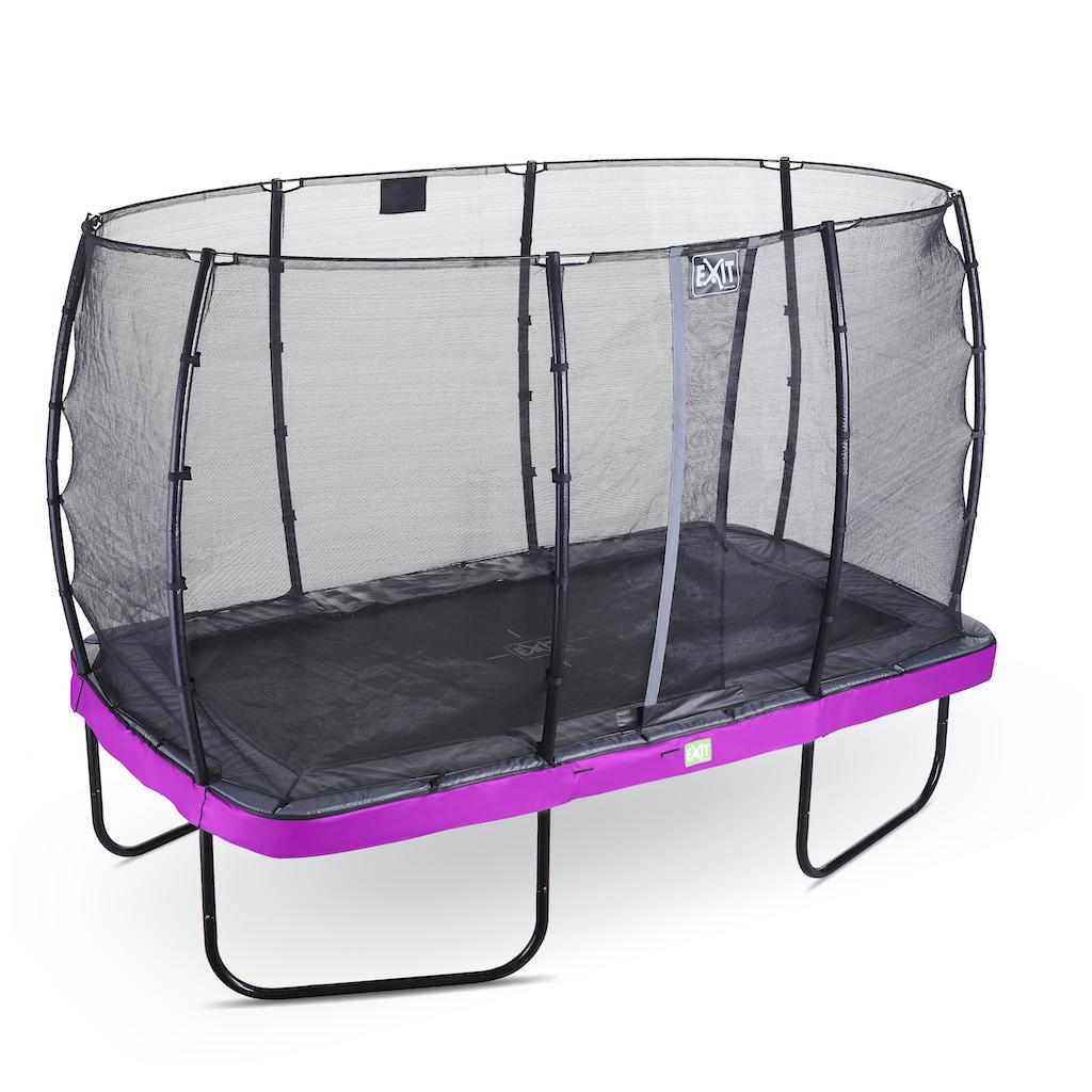 EXIT Elegant trampoline 214x366cm met Economy veiligheidsnet- paars