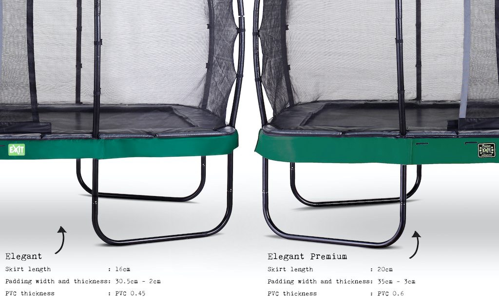 EXIT Elegant trampoline 244x427cm met Economy veiligheidsnet- groen