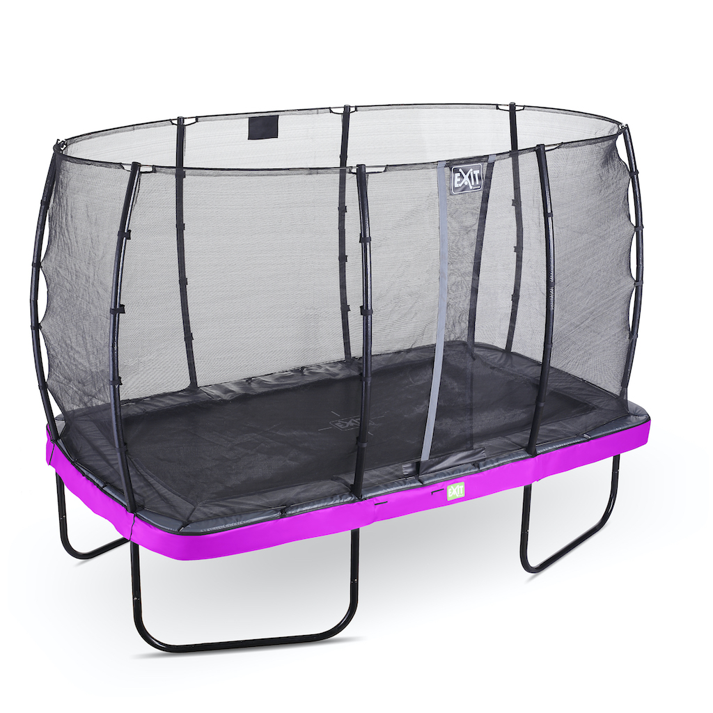 EXIT Elegant trampoline 244x427cm met Economy veiligheidsnet- paars