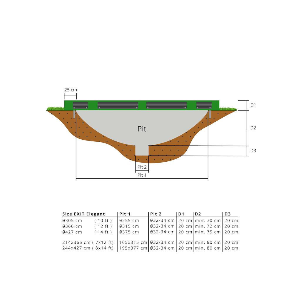 EXIT Elegant inground trampoline ø366cm met Economy veiligheidsnet- groen