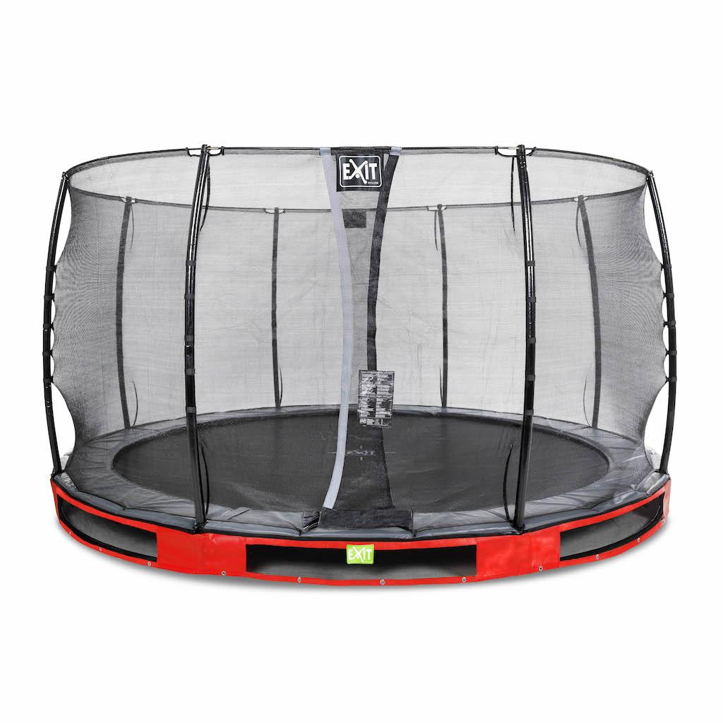 EXIT Elegant inground trampoline ø366cm met Economy veiligheidsnet- rood
