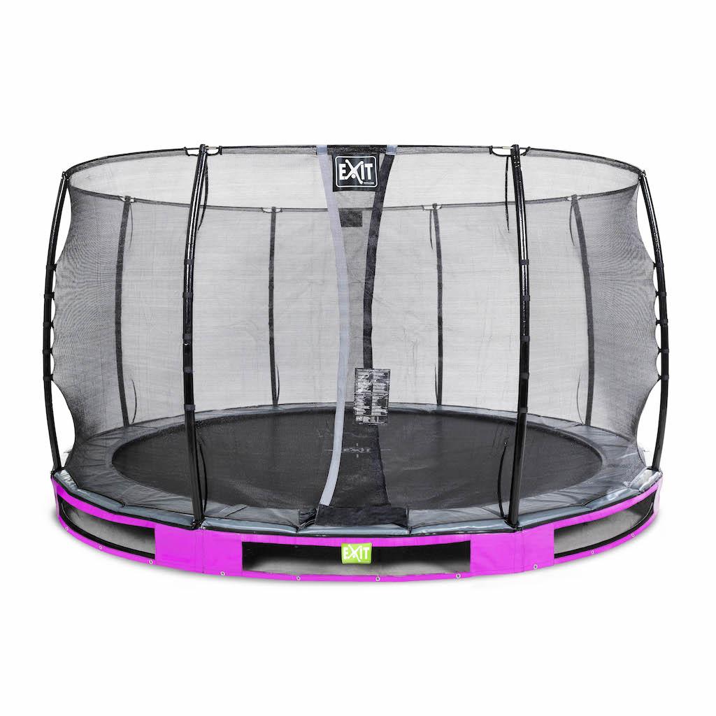 EXIT Elegant inground trampoline ø366cm met Economy veiligheidsnet- paars