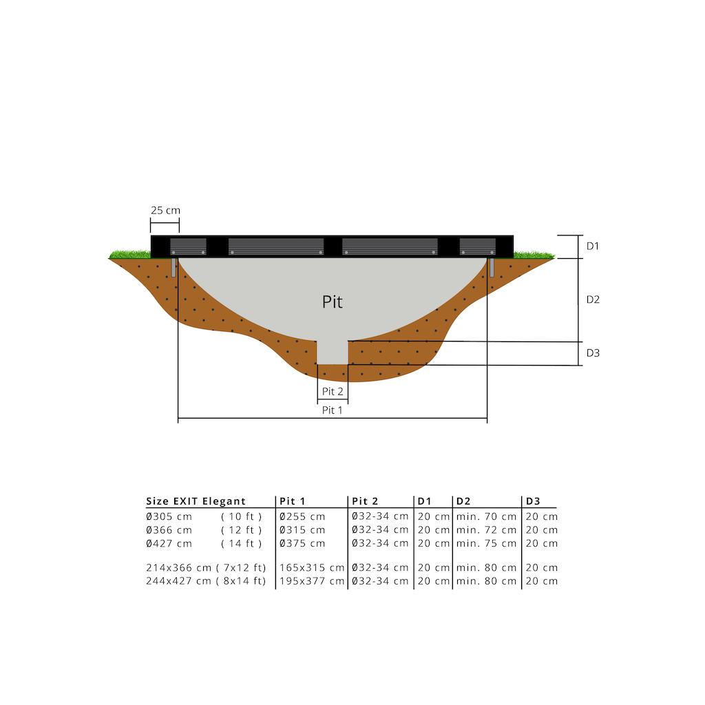 EXIT Elegant inground trampoline ø427cm met Economy veiligheidsnet- zwart