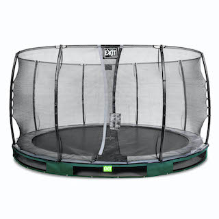 EXIT Elegant inground trampoline ø427cm met Economy veiligheidsnet- groen