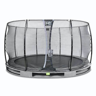 EXIT Elegant inground trampoline ø427cm met Economy veiligheidsnet- grijs