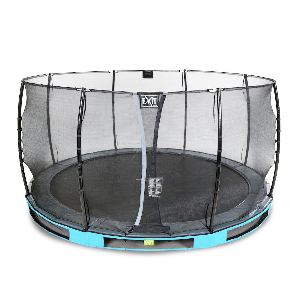 EXIT Elegant inground trampoline ø427cm met Economy veiligheidsnet- blauw