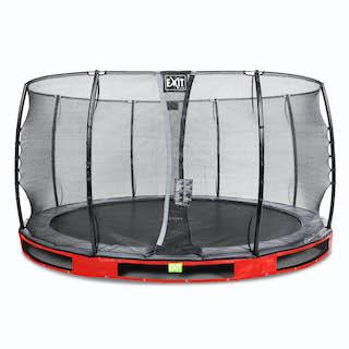 EXIT Elegant inground trampoline ø427cm met Economy veiligheidsnet- rood