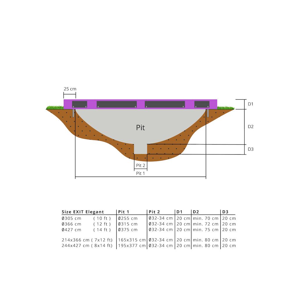 EXIT Elegant inground trampoline ø427cm met Economy veiligheidsnet- paars