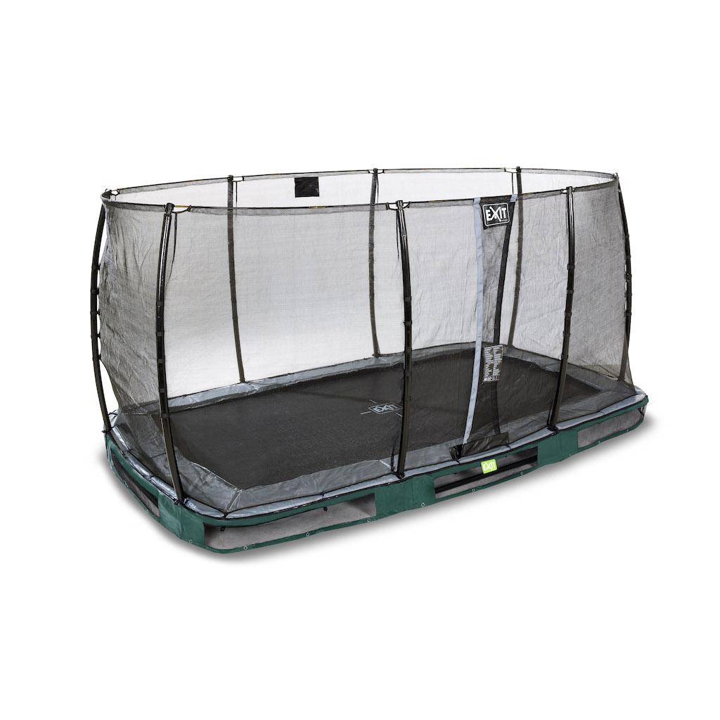 EXIT Elegant inground trampoline 214x366cm met Economy veiligheidsnet- groen