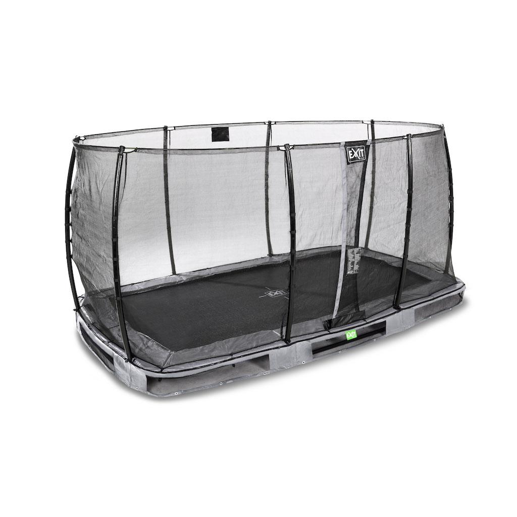 EXIT Elegant inground trampoline 214x366cm met Economy veiligheidsnet- grijs
