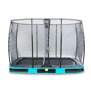 EXIT Elegant inground trampoline 214x366cm met Economy veiligheidsnet- blauw