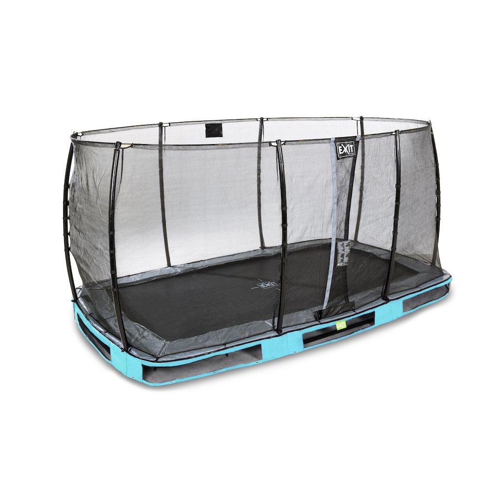 EXIT Trampoline de sol élégant 214x366cm avec filet de sécurité EcoNeemy - bleu
