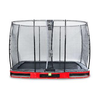 EXIT Elegant inground trampoline 214x366cm met Economy veiligheidsnet- rood